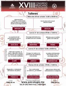 Talleres del XVIII Congreso Mexicano de Psiología. Octubre, 2010