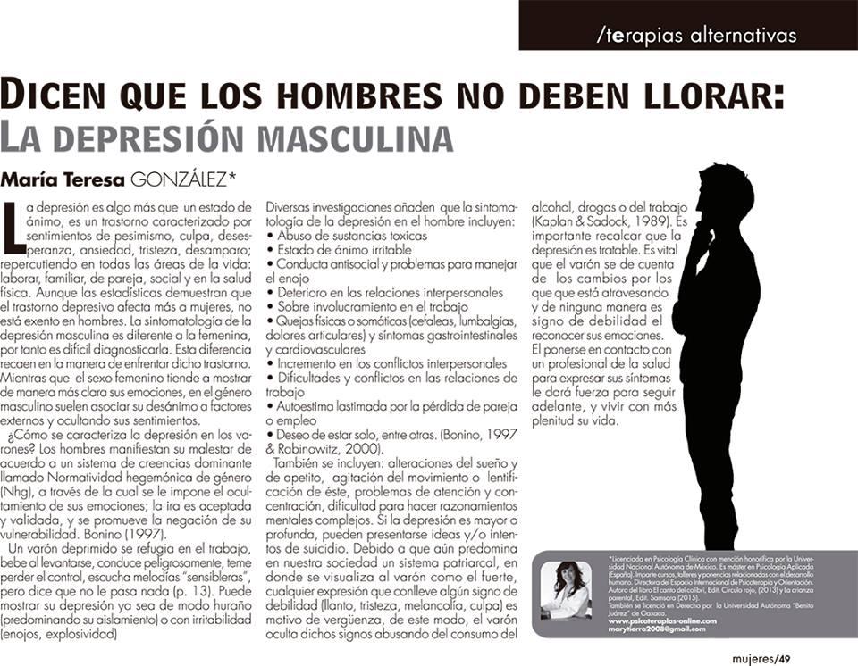 La depresión masculina ¿Dicen que los hombres no deben llorar?