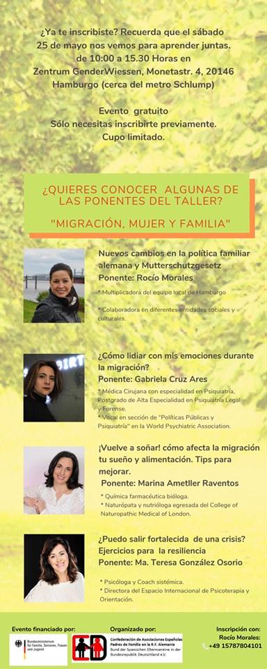 Conoce algunas ponentes del taller: Migración Mujer y Familia